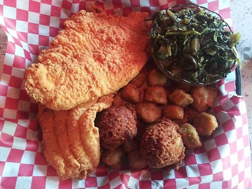 Catfish basket with sides and hushpuppies