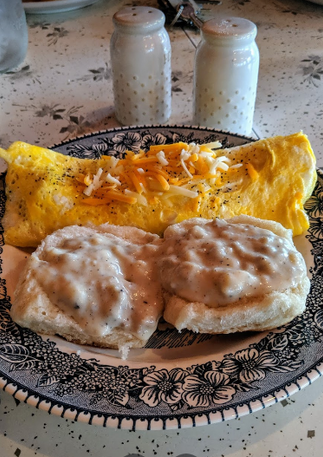 Omelet with Biscuits & Gravy