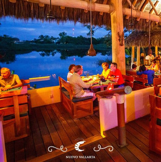 Beautiful view of the lagoon in open air dining