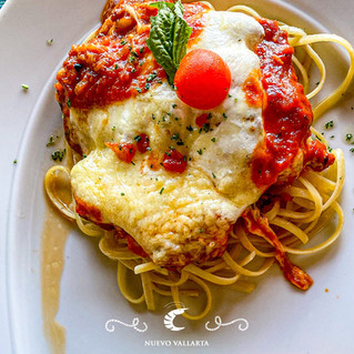 Chicken parmigiana with fish or shrimp