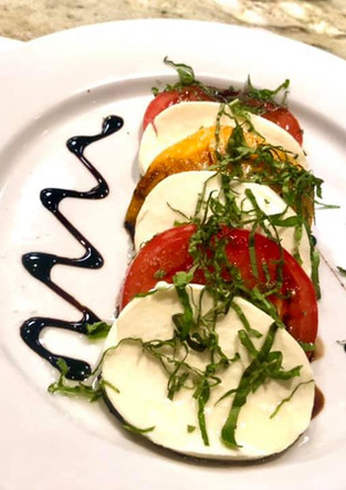 Summer Caprese salad with Dave's fresh garden tomatoes