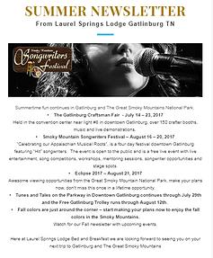 Laurel Springs B&B Newsletters | Gatlinburg TN Bed and
