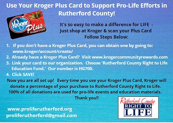 Kroger Card for Pro Life Rutherford County