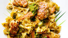 Peanut Pasta with Salmon Balls