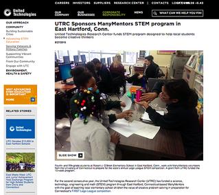 UTRC Sponsors ManyMentors STEM program in East Hartford, Conn.