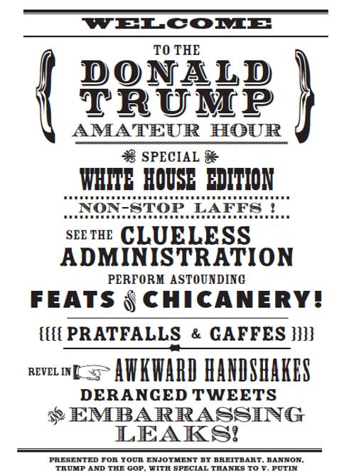 4 Trump Artcards -black & white