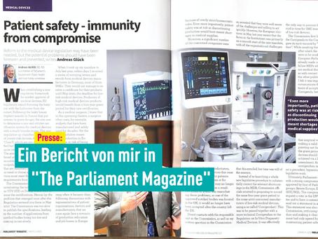 """Presse: Ein Bericht von mir in """"The Parliament Magazine"""""""