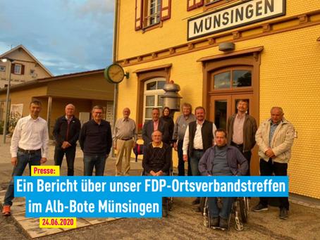 Presse: Ein Bericht über unser FDP-Ortsverbandstreffen im Alb-Bote Münsingen