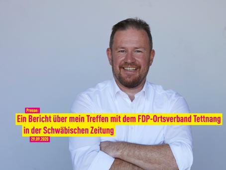 Presse: Ein Bericht über mein Treffen mit dem FDP-Ortsverband Tettnang in der Schwäbischen Zeitung