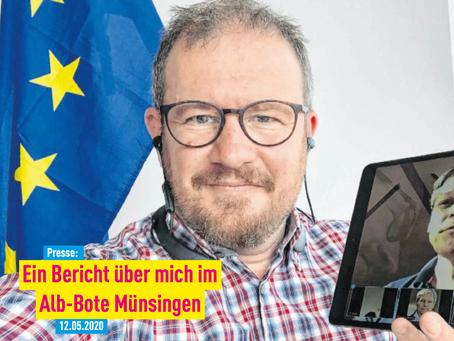 Presse: Ein Bericht über mich im Alb-Bote Münsingen