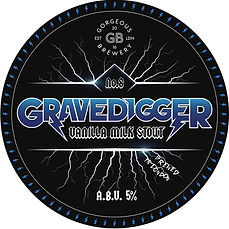 Gravedigger, Vanilla Milk Stout beer label by Gorgeous brewery