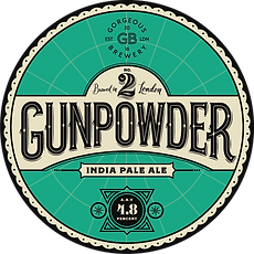 Gunpowder, IPA beer label by Gorgeous brewery