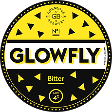 Glowfly, bitter beer label by Gorgeous brewery
