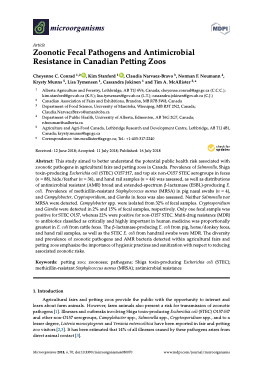 Zoonotic Fecal Pathogens and Antimicrobial Resistance in Canadian Petting Zoos