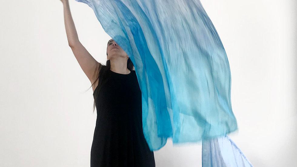 Banderas de seda turquesa