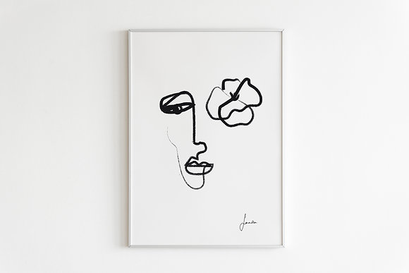 One Line Face and Flower Drawing Print in White Framed