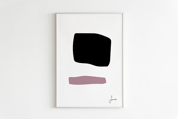 Ilustration Print in White Framed