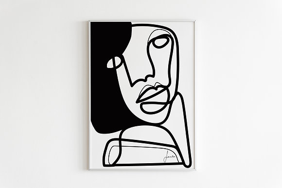 One Line Face Drawing Wall Print