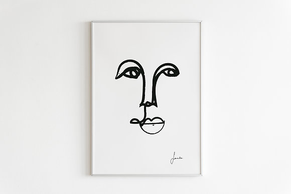 One Line Face Drawing Print in White Framed