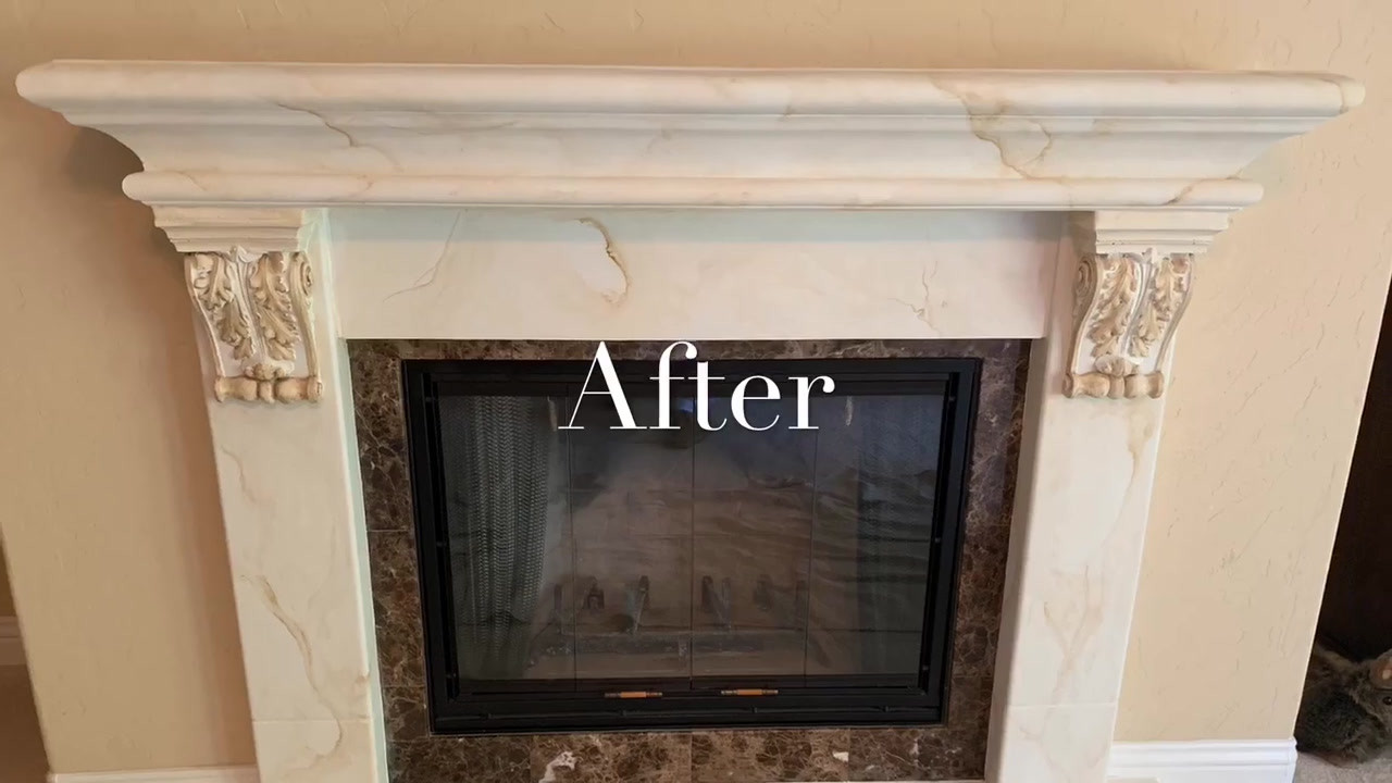 Before & After Custom Marble Chimney