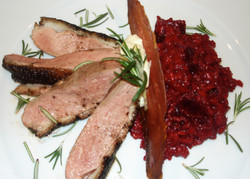Duck and beetroot risotto