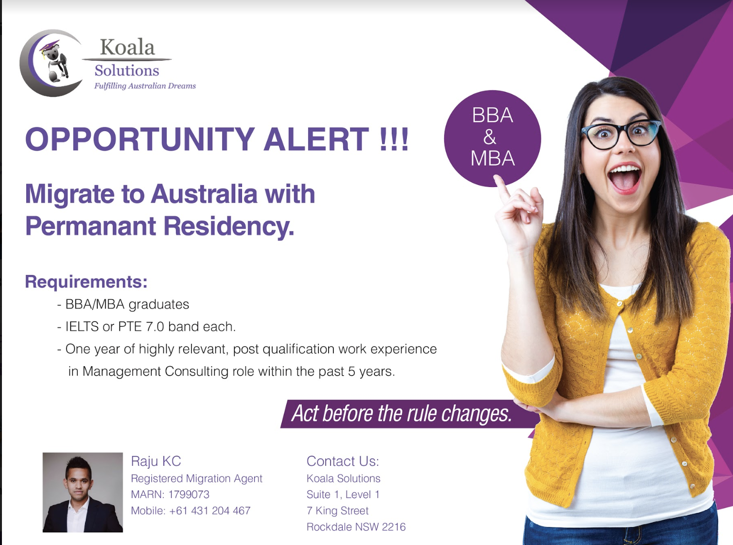 Opportunity for MBA/BBA