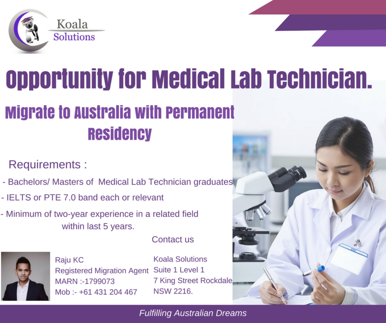 opportunity for Medical Lab Technician