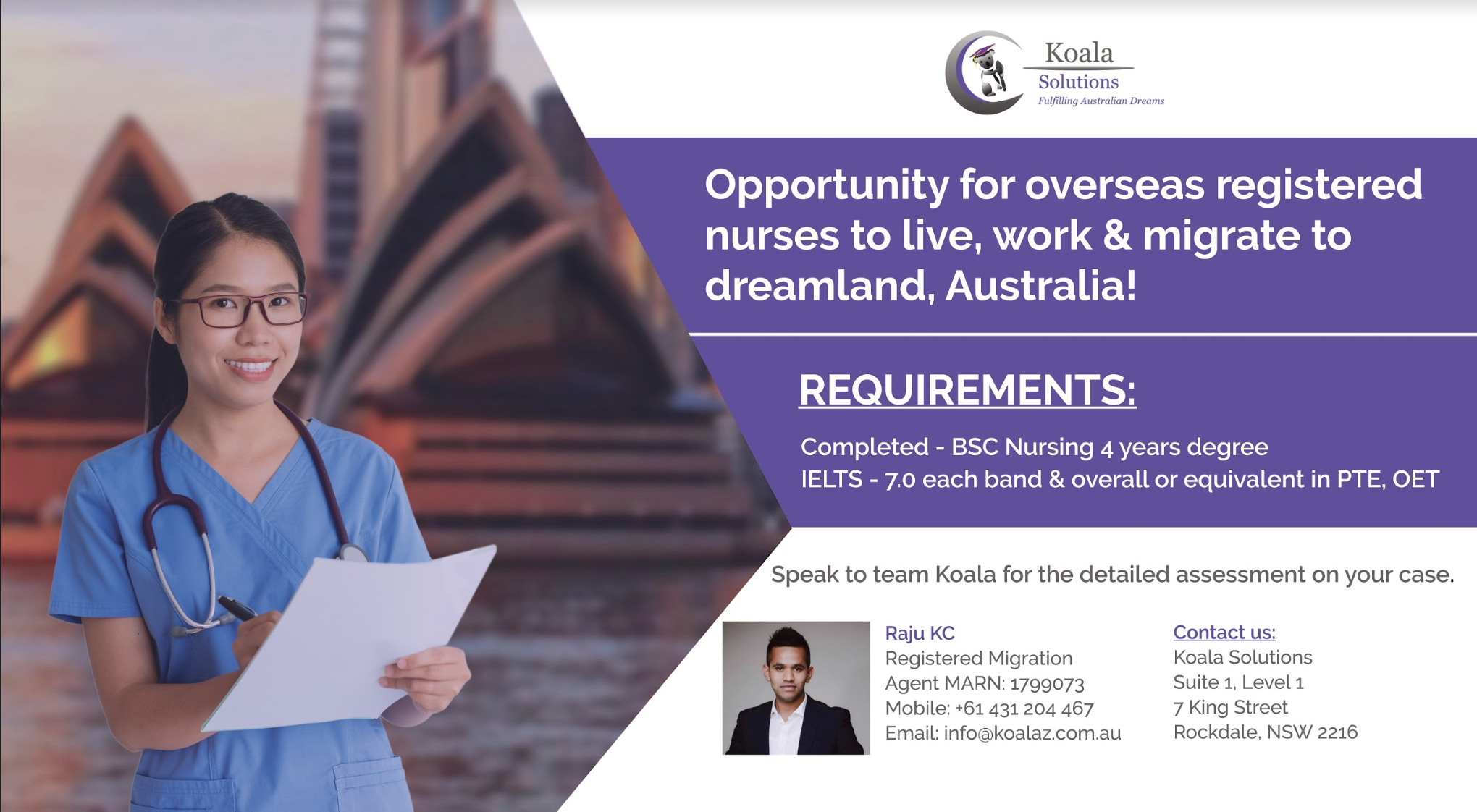Opportunities for overseas Registered Nurses to live, work and migrate to Australia.