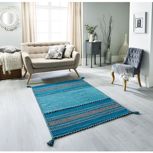 The Kelim Rug Teal,  sizes from  70x140, hand made in India