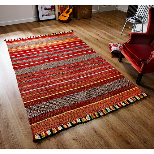 Kelim Red Stripe Rug, sizes from  70x140, hand made in India