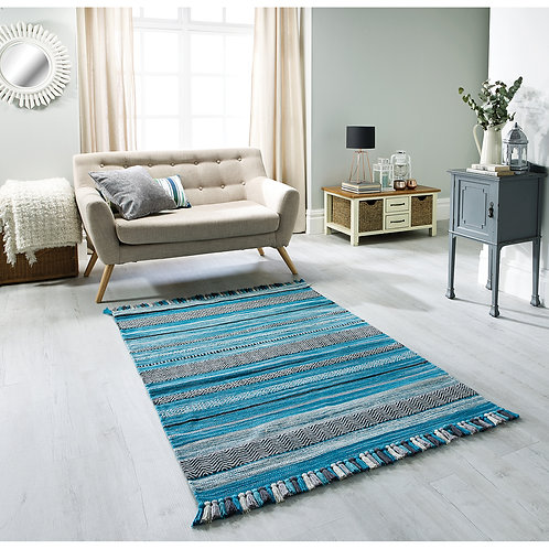 Kelim Teal Stirpe Rug, sizes from  70x140, hand made in India