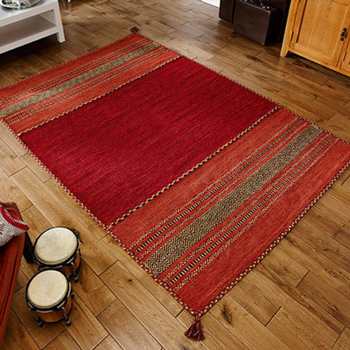 The Kelim Red Rug, sizes from  70x140, hand made in India
