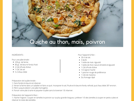 Nos recettes MLA : Quiche au thon, maïs et poivron