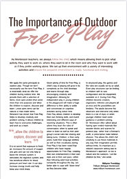 The Importance of Outdoor Free Play