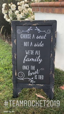 Ceremony welcome sign