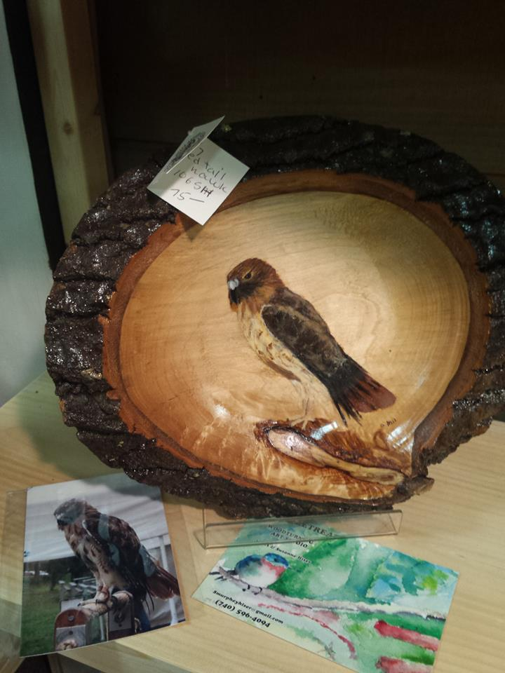 redtail hawk wood bowl