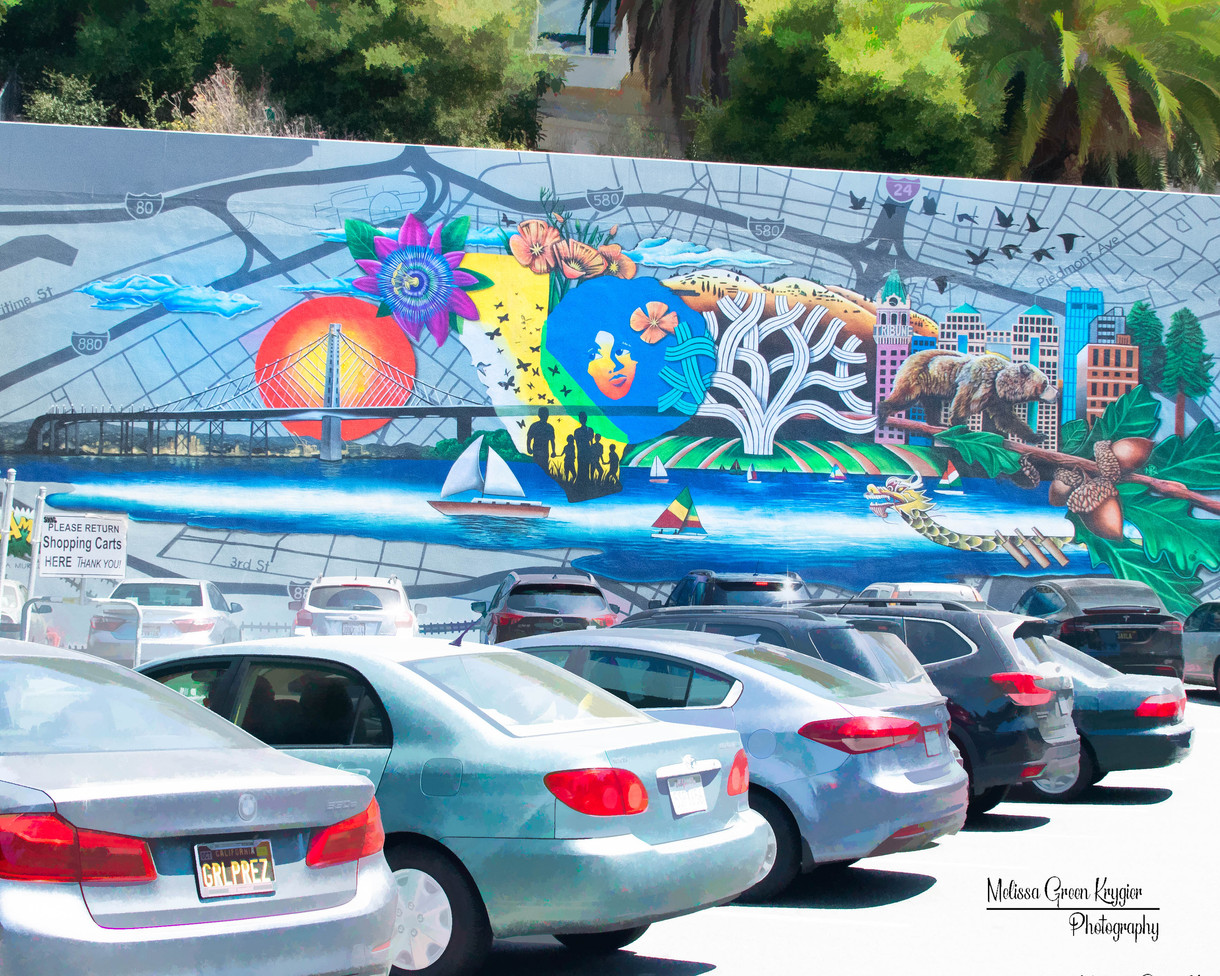 Painted in December 2018, this mural was painted by the Bay Area Mural Program. It  highlights symbols of Oakland.