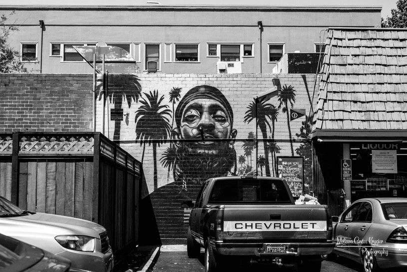 Tribute to Los Angeles rapper Nipsey Hussle by Oakland artist Timothy B. Painted May 2019.