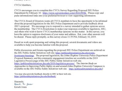 CVCA Membership Poll on Proposed JHU Police Department