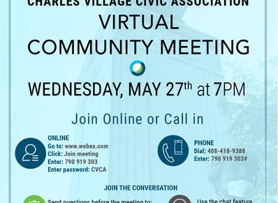 May 27th- Charles Village Virtual Community Meeting