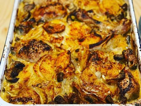 New Recipe! Chicken & Mushroom Dauphinoise w/a Saffron and garlic sauce