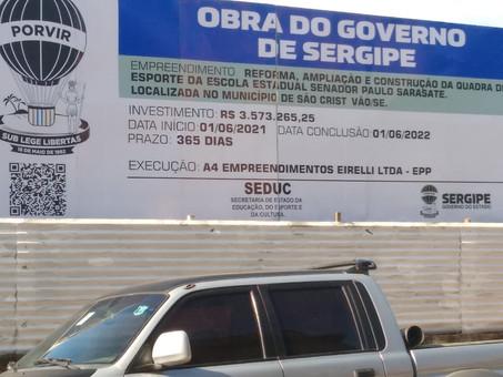 Gualberto exalta obra de reforma e ampliação de escola pública em São Cristóvão