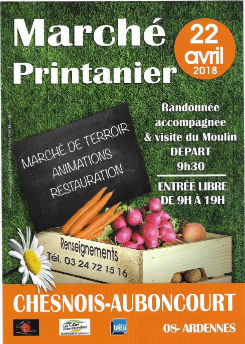 Chesnois-Auboncourt - Marché Printanier ce dimanche 22 avril 2018