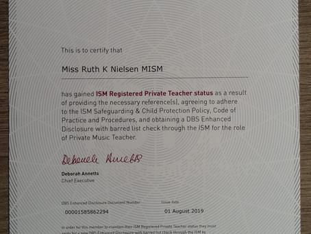 ISM Registered Private Teacher Status