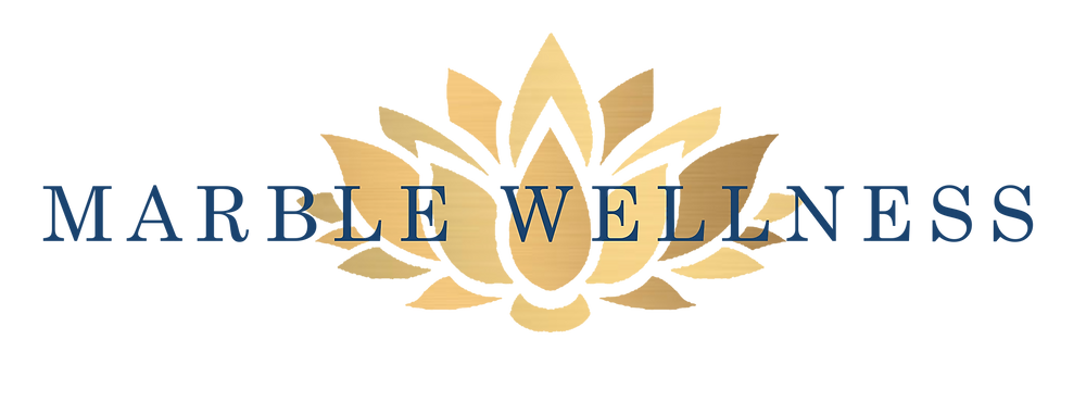Marble Wellness Logo: A counseling practice that services anxious and depressed individuals, overwhelmed moms, and stressed out couples