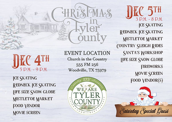 CHRISTMAS IN TYLER COUNTY POST CARD back