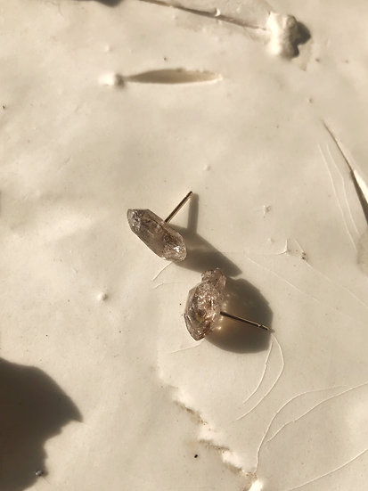 Crystal Studs- Herkimer Diamond with Inclusions
