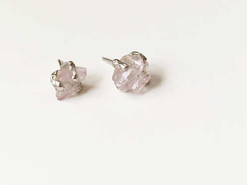 Porous Earth Rose Quartz Earrings