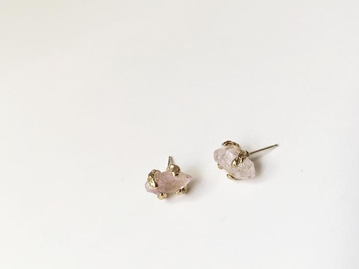 Porous Earth Rose Quartz Earrings