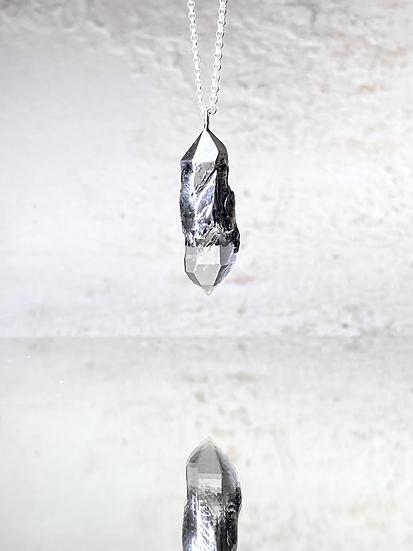 Clear Quartz Mirror Necklace No 1 - Silver